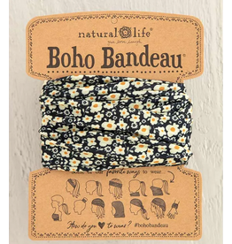 Natural LIfe Boho Bandeau, Black Cream Floral