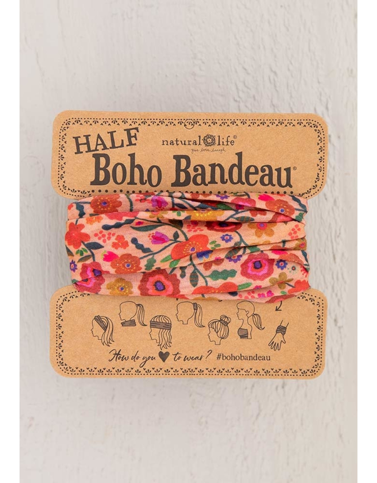 Natural LIfe Half Boho Bandeau, Blush Floral