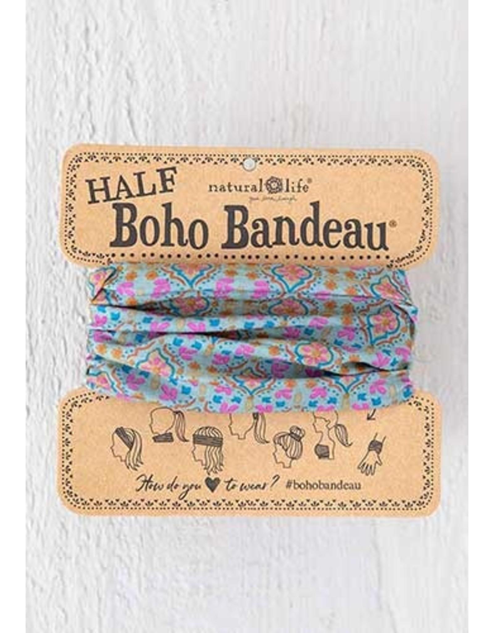 Natural LIfe Half Boho Bandeau, Turquoise Orange Stamp