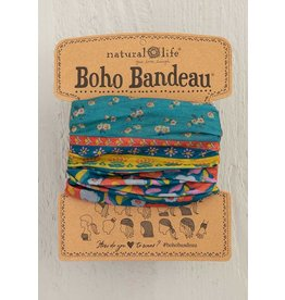 Boho Bandeau, Turq Floral Border