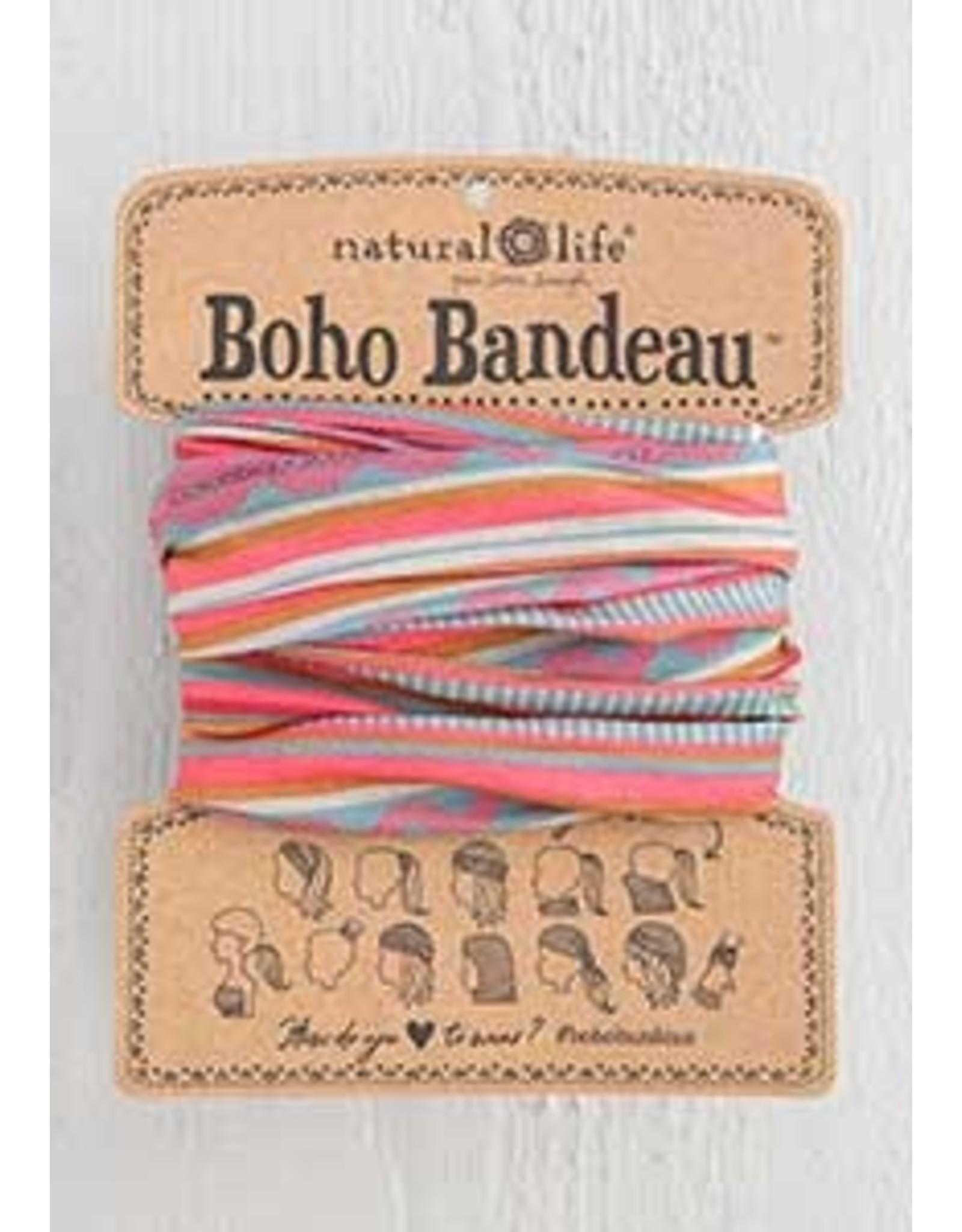 Natural LIfe Boho Bandeau, Coral Sand Aqua Stripe