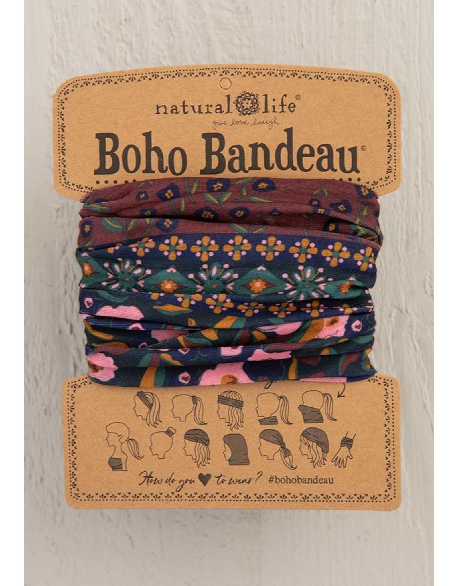 Natural LIfe Boho Bandeau, Wine Floral Border