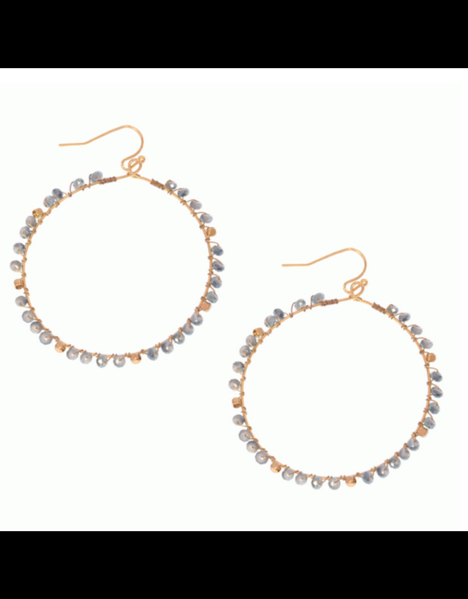 JS Gold Hoop E/R, turq bead