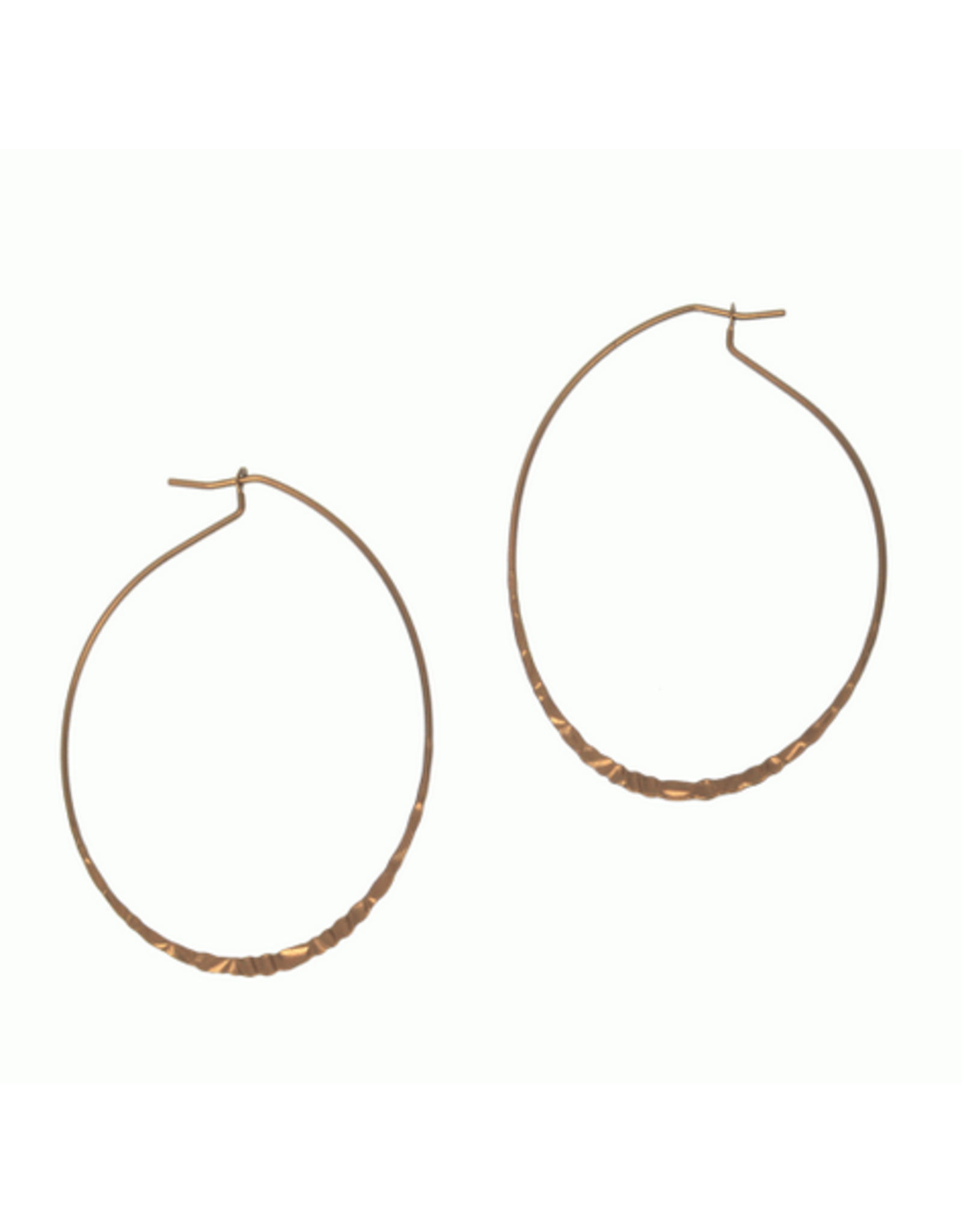 Hammered Oval Hoop E/R, coffee gold