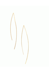 Curved Rod Threader Earrings, gold