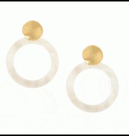 White Resin Hoop Gold Post E/R