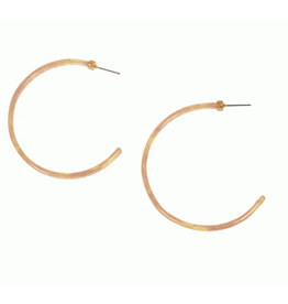 Thin Resin Hoop Earrings, Natural