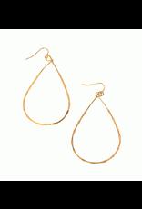 Teardrop Thin Hoop Earrings, gold