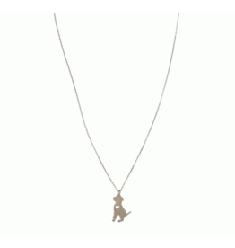 Silver Puppy Love Necklace, 16""