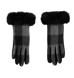 Mud Pie Plaid Fur Cuff Glove