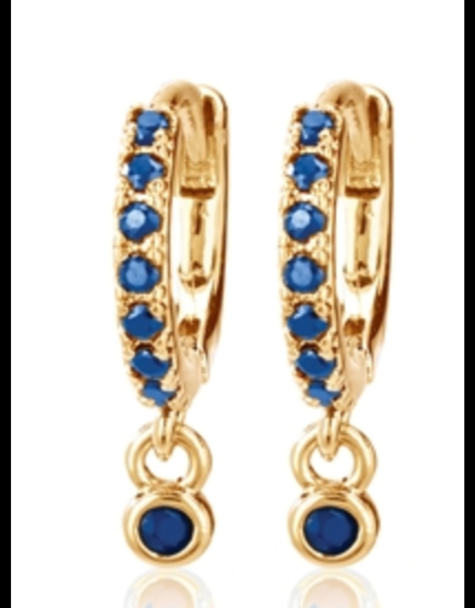 CAI Huggies, Single Dangle Stone, Gold Blue