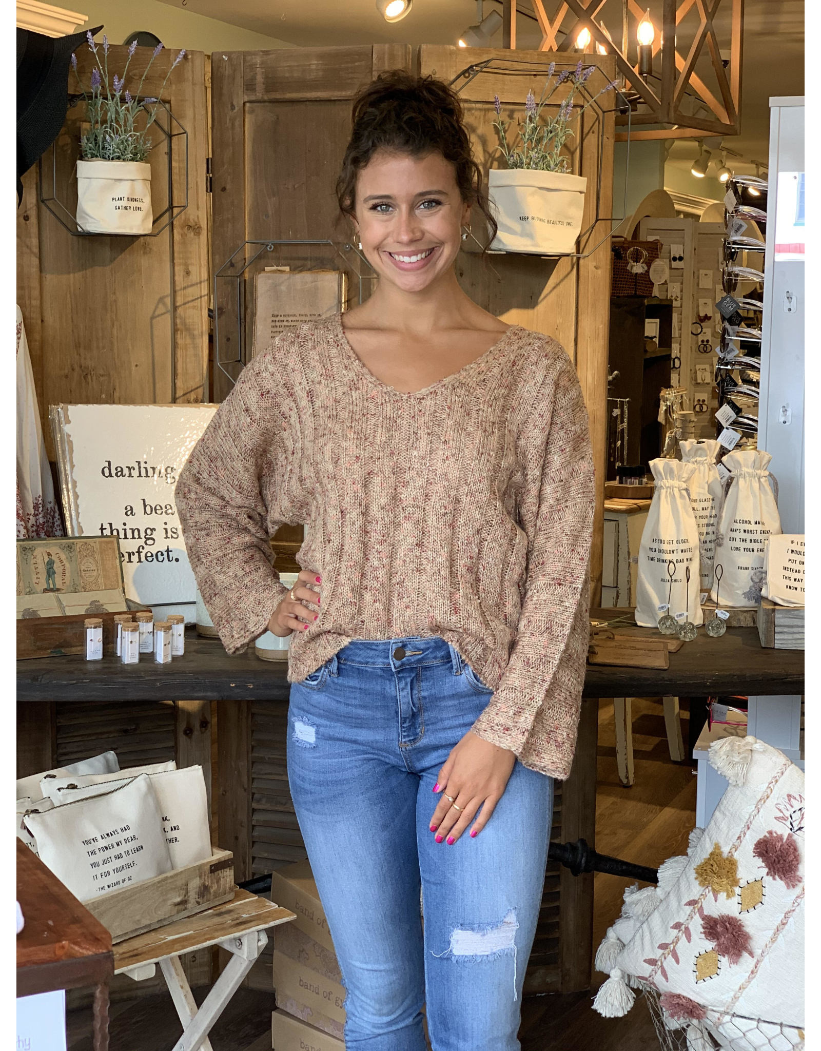Scoop Neck Multi Tone Sweater
