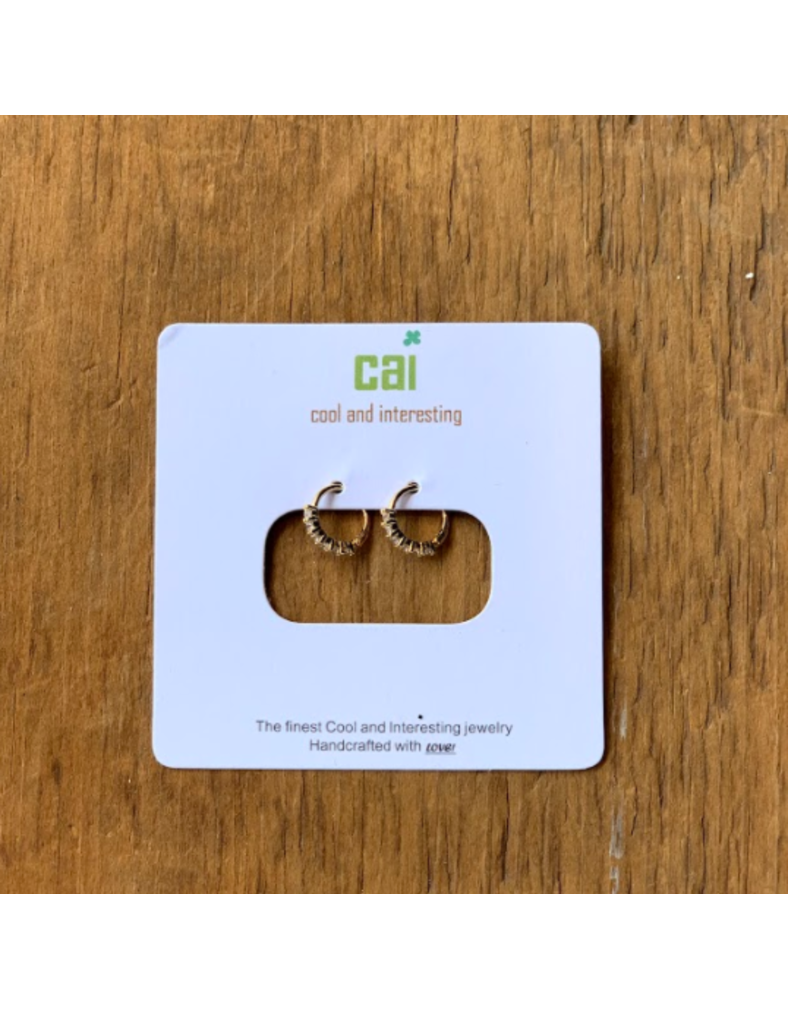 CAI Huggies, Half Round Stone, Gold White