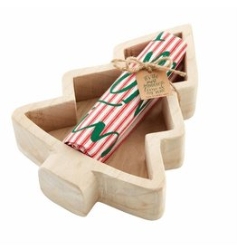 Mud Pie Wood Tree Bowl with Towel