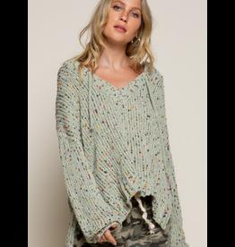 Confetti Chenille V Neck Sweater, Sage Multi
