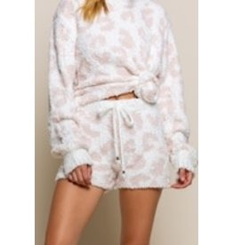 Pink and White Leopard Cozy Shorts