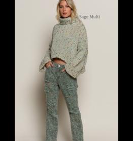 Confetti Turtleneck Chenille Sweater