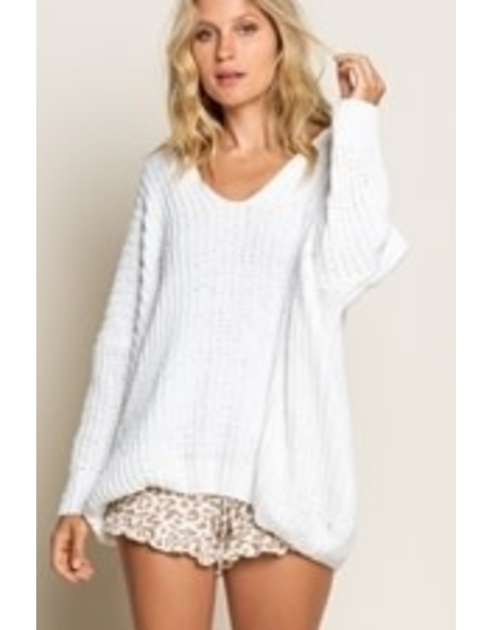 Drop Shoulder Cable Knit Pullover Sweater