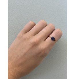 CAI Gold Oval Gemstone Ring, lapis