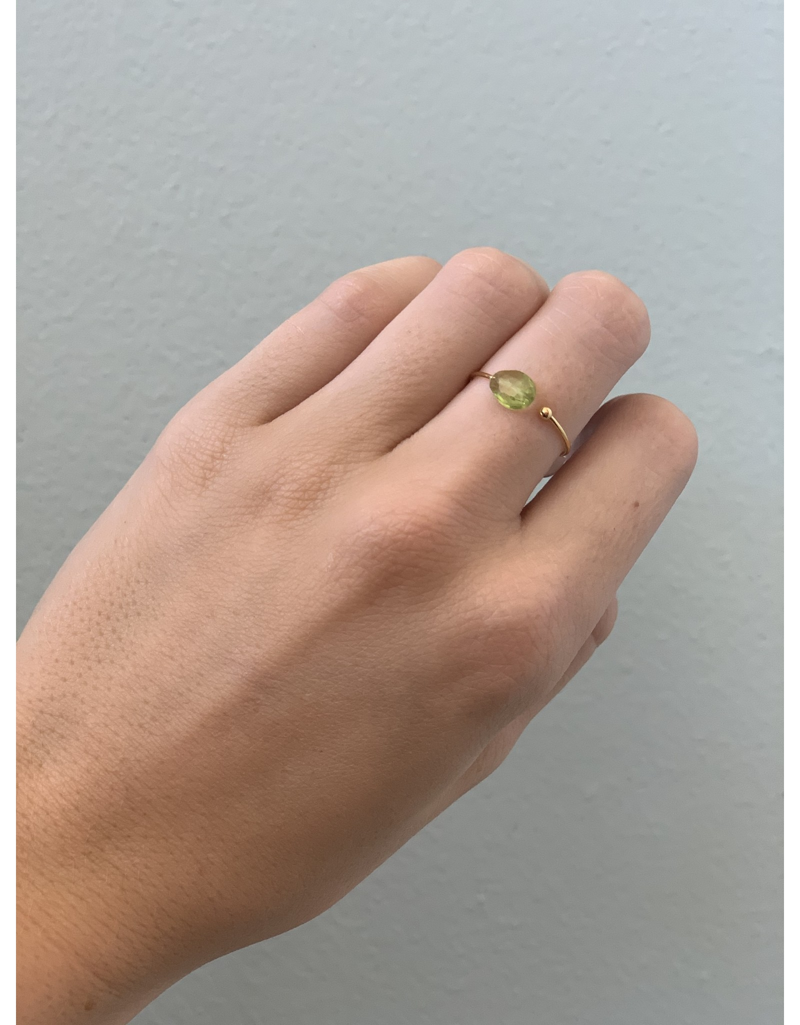 CAI Gold Oval Gemstone Ring, peridot