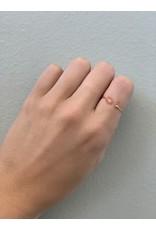 CAI Gold Oval Gemstone Ring, peach moonstone