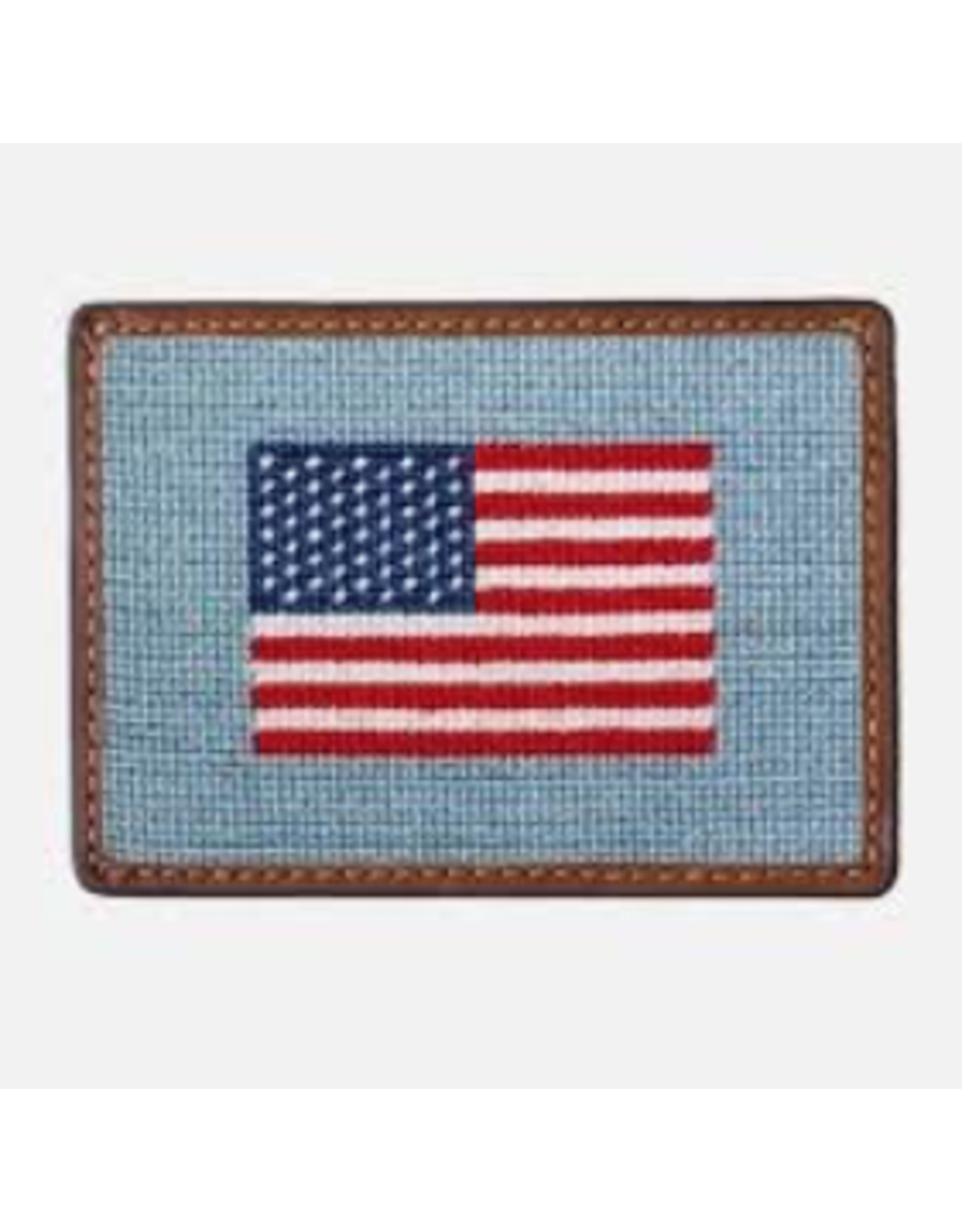 Smathers & Branson S&B Needlepoint Card Wallet, American flag antique
