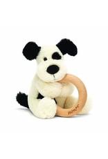 Jellycat Bashful Black & Cream  Puppy Wooden Ring Toy
