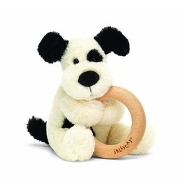 Jellycat Bashful Black & Cream  Puppy Wooden Ring Toy