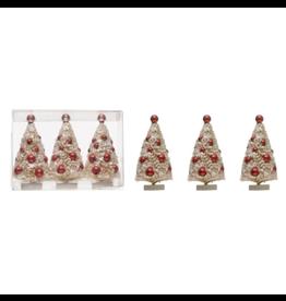 Bottle Brush Sisal Tree, white & red, set of 3