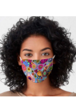 Blooms On Cerulean Blue - Cotton Jersey Face Mask