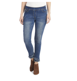 OMG Crossover Fringe Skinny Jeans