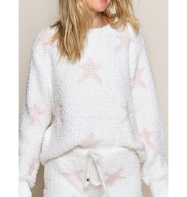 Dazzling Starlight Sweater, White with Pink Stars
