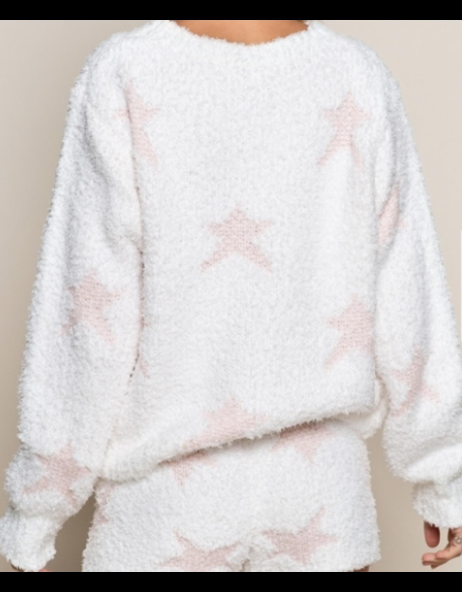 Dazzling Starlight Sweater, White with Pink Stars