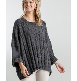 Cuffed Long Sleeve Chenille Cable Knit Pullover Sweater (additional colors available)