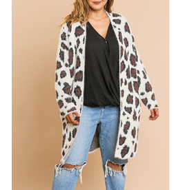 Open Front Cardigan Sweater, Animal Print