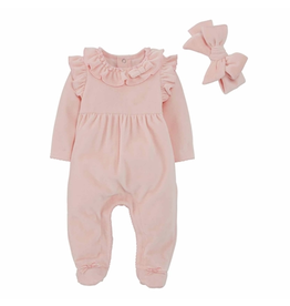 Mud Pie Velour Pink Sleeper