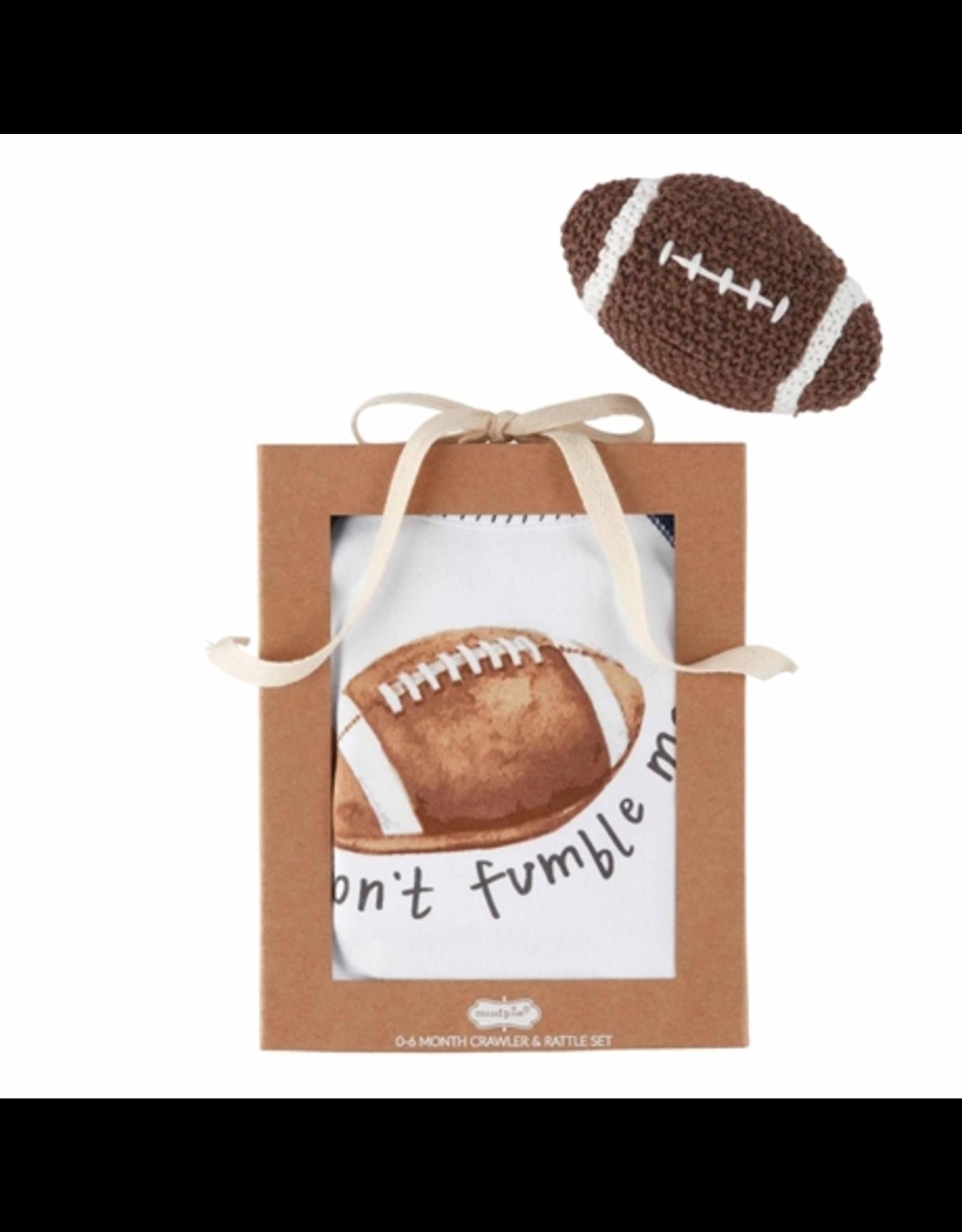 Mud Pie Football Knit Rattle Gift Set