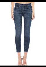 Mid-Rise Frayed Hem Crop Skinny Jeans