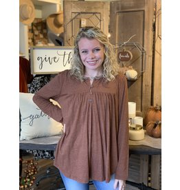 Long Sleeve Melangie Knit Button Front Top