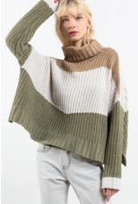 Color Block Rib Textured Turtleneck Sweater
