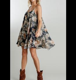 Floral Print Adjustable Spaghetti Strap Flowy Dress, Navy Mix