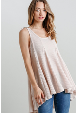 Waffle Knit Sleeveless Tunic Dress w/High-Low hem