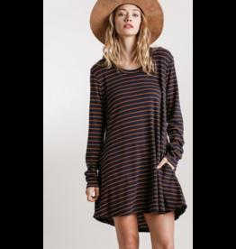 Striped L/S Casual Dress w/Pockets, Navy