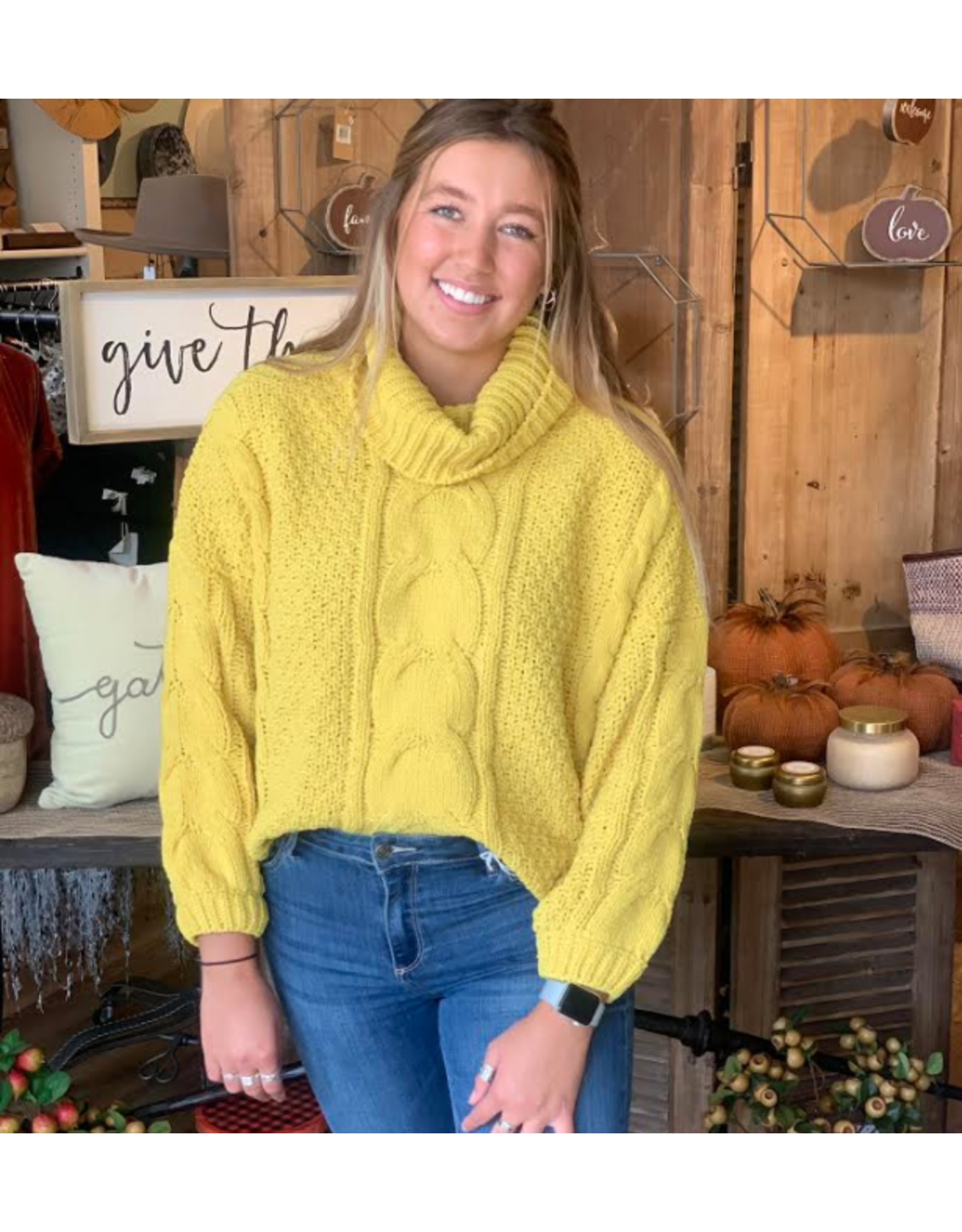 Cable Knit Sweater in Yellow