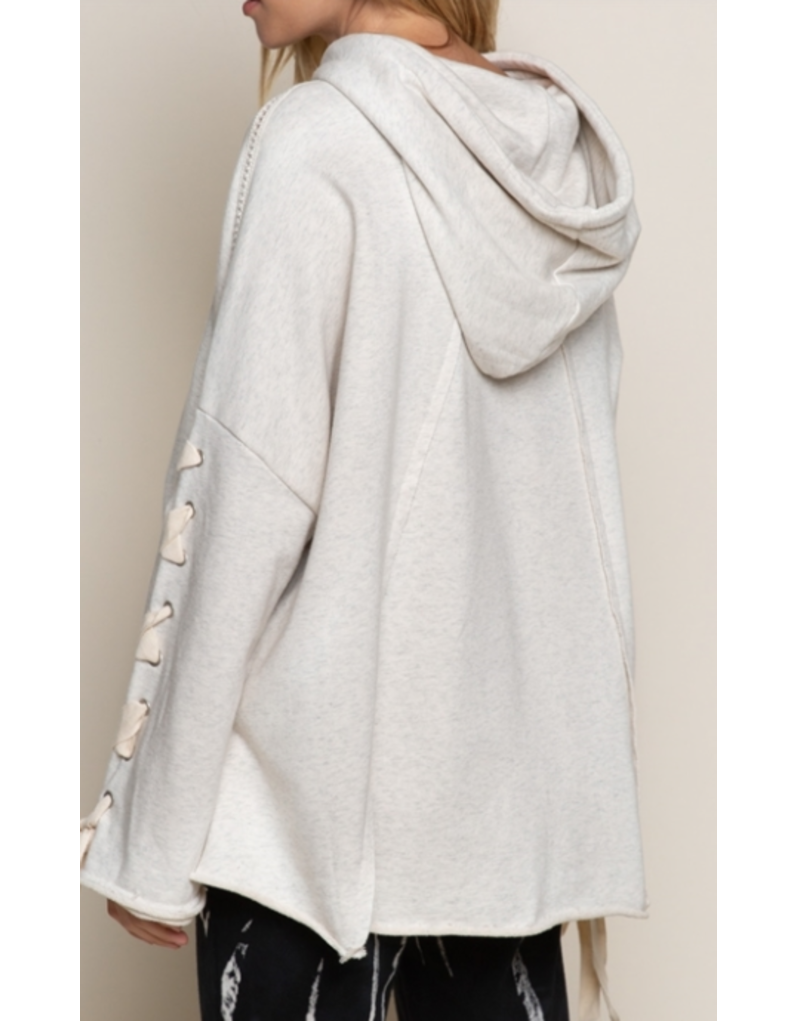 Terry Hoodie Top with Drawstring Tie