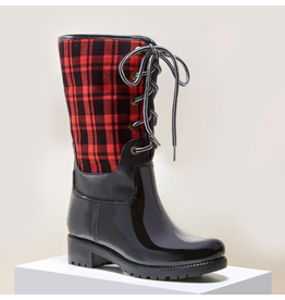 Red Plaid Rain Boots