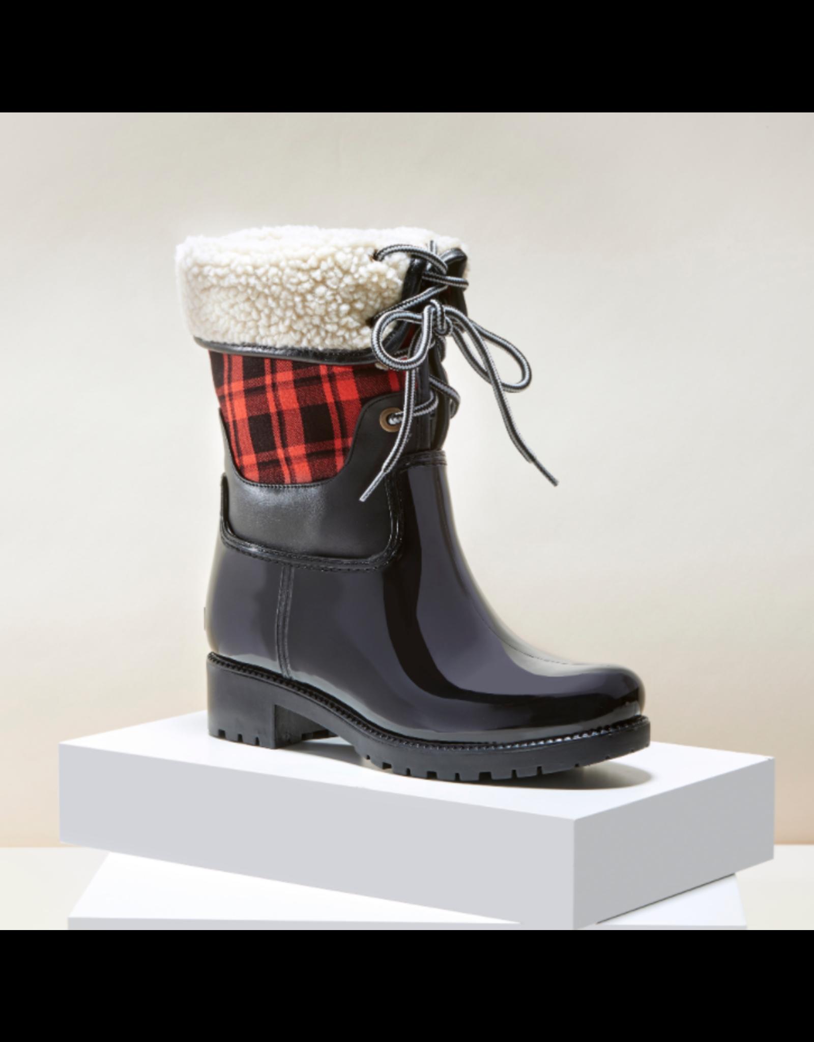 Red Plaid Rain Boots