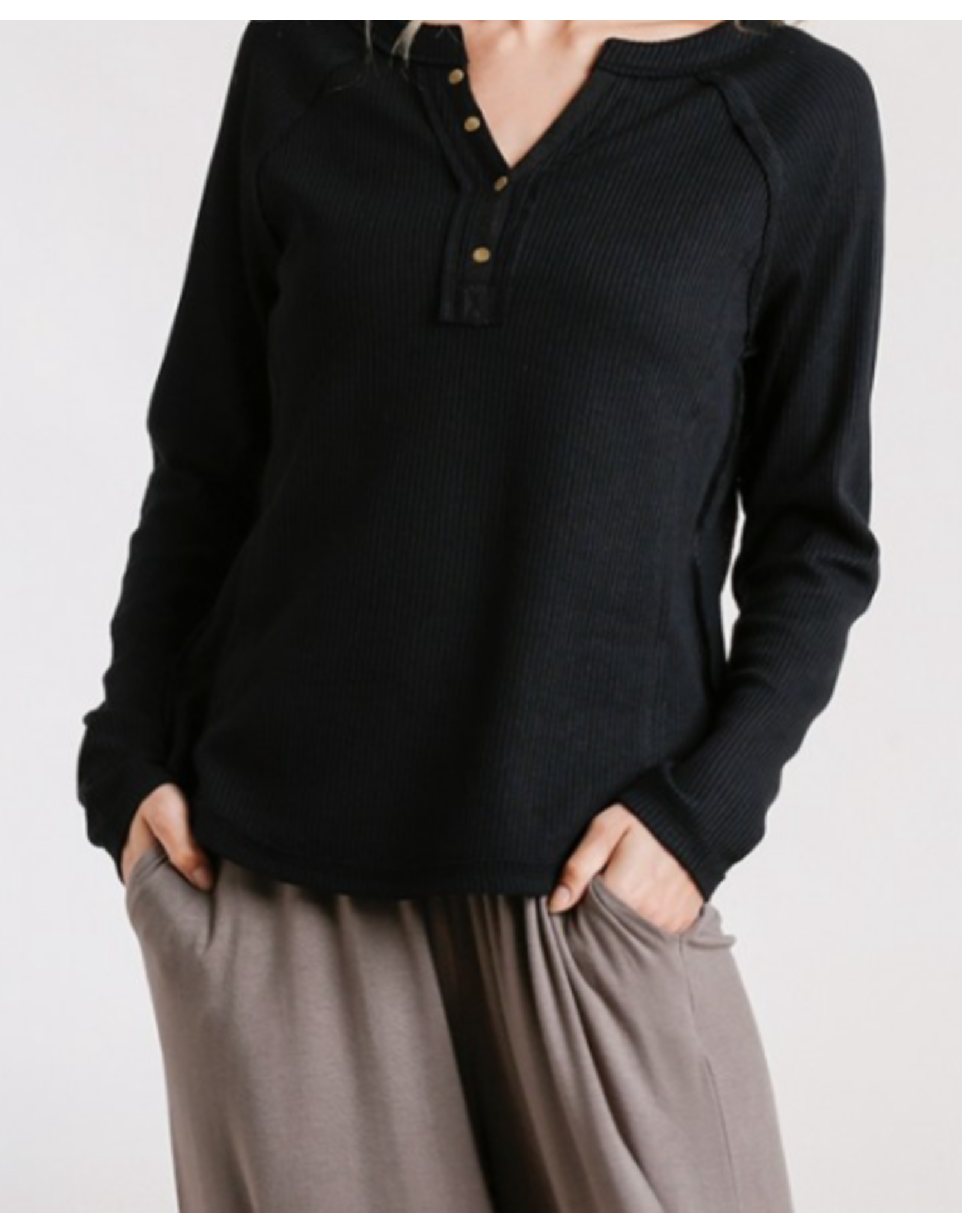 Ribbed Button Front and Raw Edged Detail Top