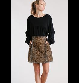 Animal Print Frayed Hem Skirt