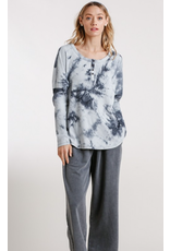 Tie-Dye Ribbed Button Front Top